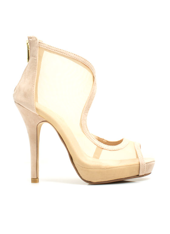 Throw A Curve Mesh Cut-Out Heels NUDE