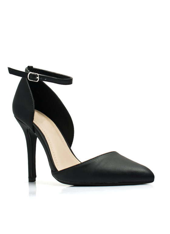 Strong Point Ankle Strap Heels BLACK