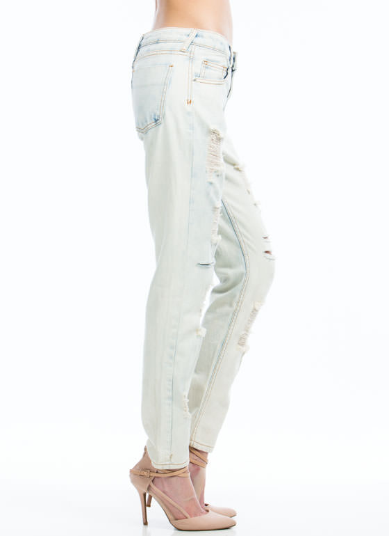 Bleached Out Destructed Jeans LTBLUE