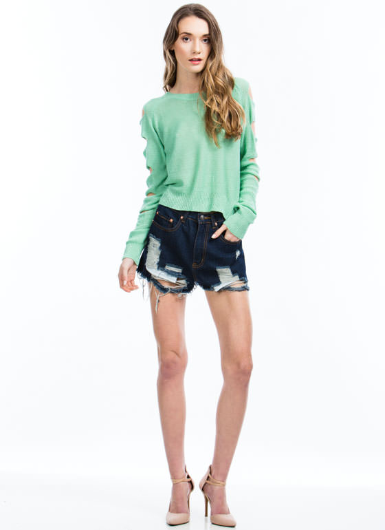 No Work And All Fray Cut-Off Shorts DKBLUE
