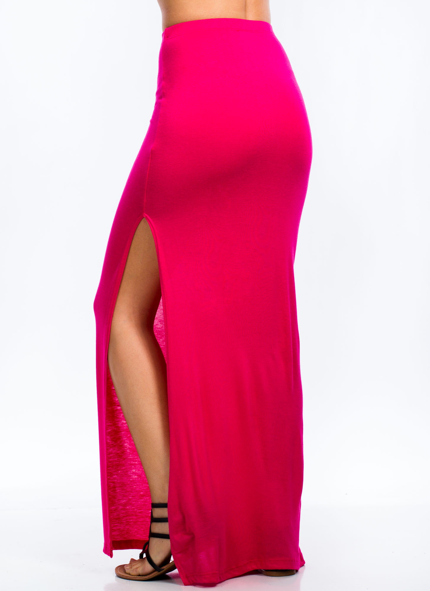 Get Your Slit Together Maxi Skirt FUCHSIA