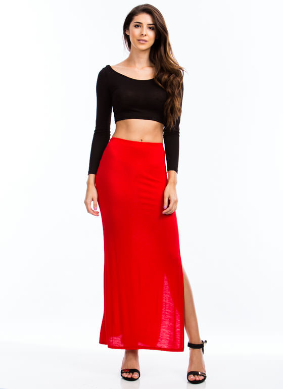 Get Your Slit Together Maxi Skirt RED