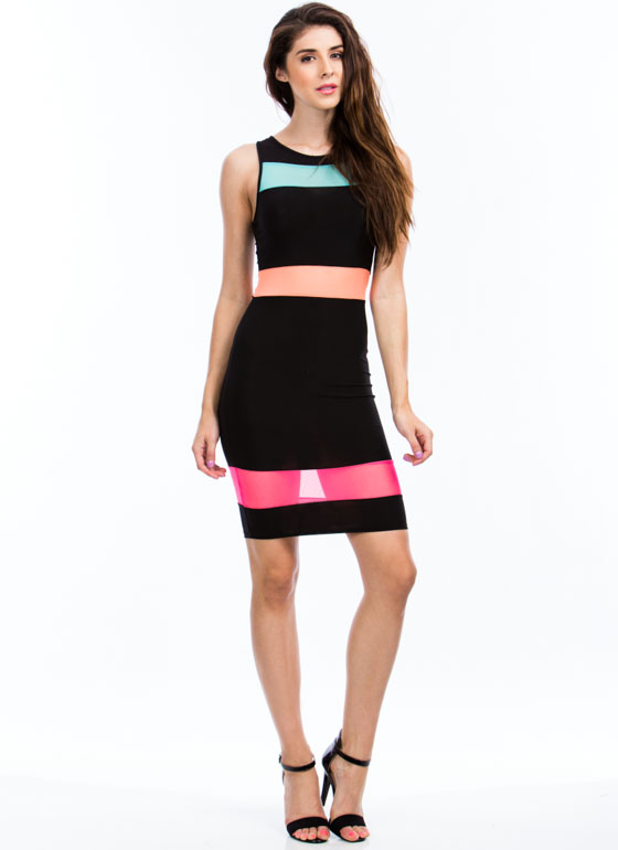 Mesh N Colorblock Bodycon Dress BLACK