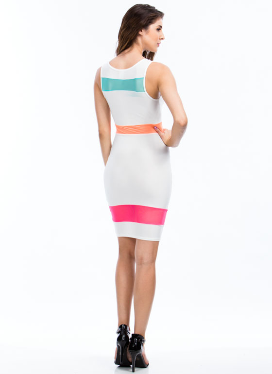 Mesh N Colorblock Bodycon Dress WHITE