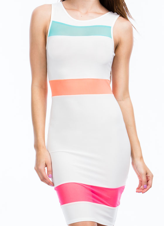 Mesh 'N Colorblock Bodycon Dress WHITE