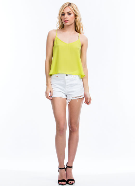 Ladder Day Strappy Cropped Top CITRON