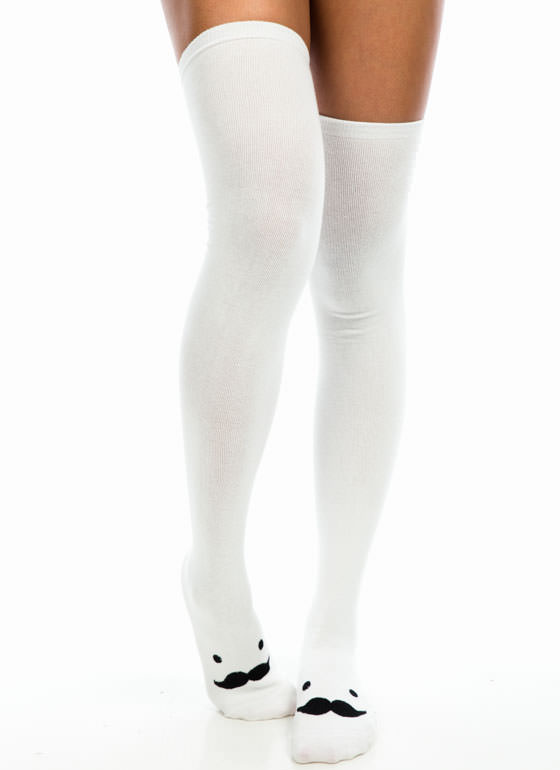 Mustache Thigh-High Socks WHITE