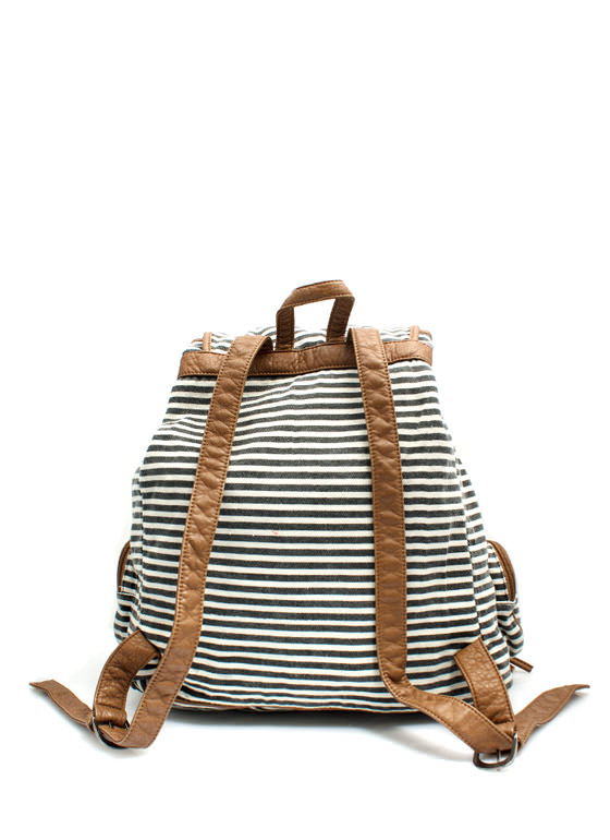 Slouchy Striped Drawstring Backpack BLACK