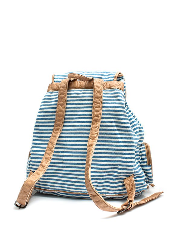 Slouchy Striped Drawstring Backpack BLUE