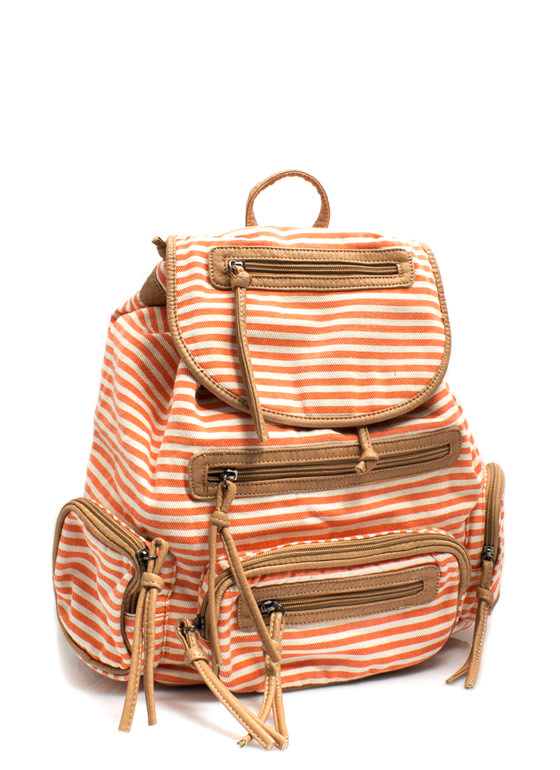 Slouchy Striped Drawstring Backpack ORANGE