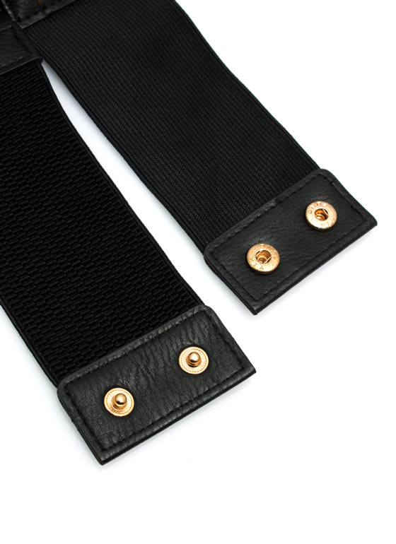 Layered Rings Faux Leather Belt BLACK