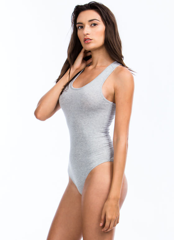 Ace Of Basic Sleeveless Bodysuit HGREY