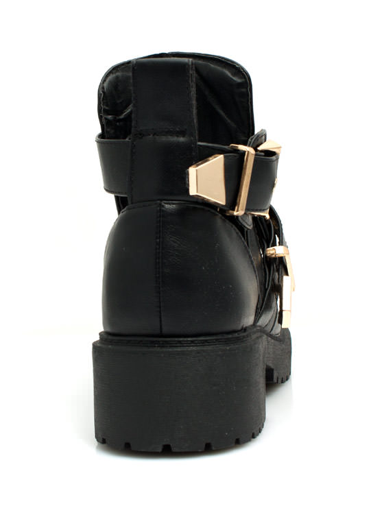 Cut-Out Double Buckle Booties BLACKGOLD