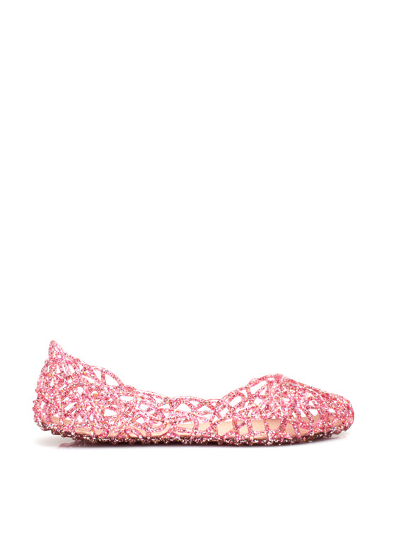 Layered Lines Jelly Ballet Flats FUCHSIA
