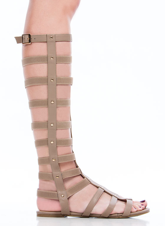 Caged Arena Gladiator Sandals TAUPE