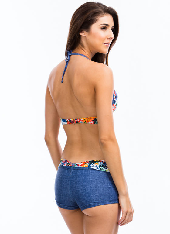 Denim Daze Floral Bikini Top BLUEWHITE