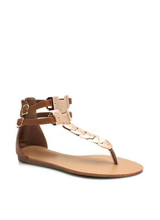 All Shield Up Plated T-Strap Sandals TAN