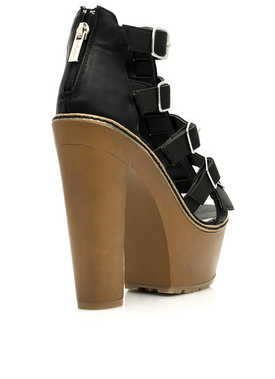 Gimme Five Chunky Faux Wood Platforms BLACK