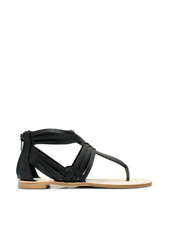 Weave It To Us T-Strap Sandals BLACK
