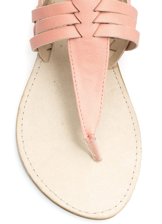 Weave It To Us T-Strap Sandals SALMON