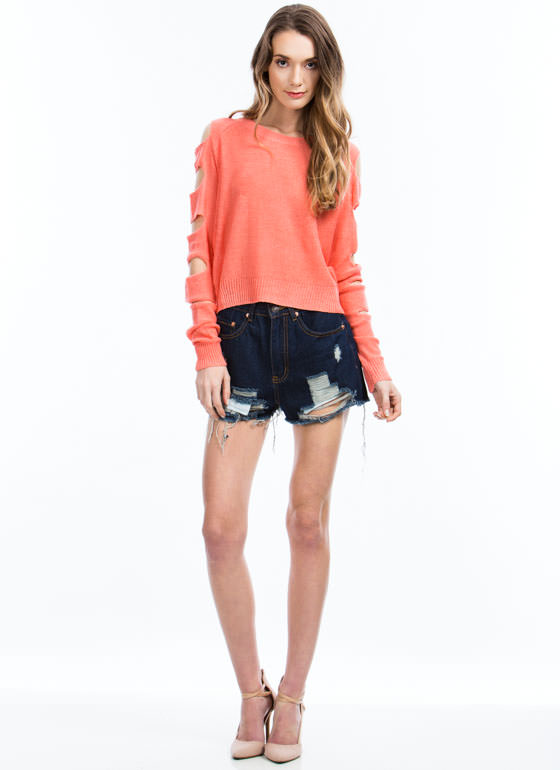 Climb Up Ladder Cut-Out Sweater CORAL