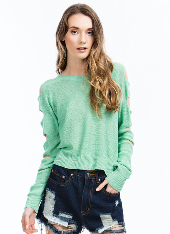 Climb Up Ladder Cut-Out Sweater MINT