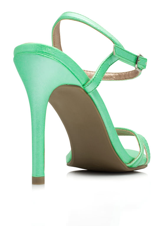 May I Have This Dance Faux Leather Heels LIME