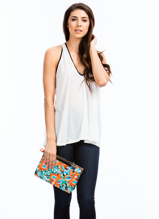 Tropical Floral Print Clutch BLACKMULTI