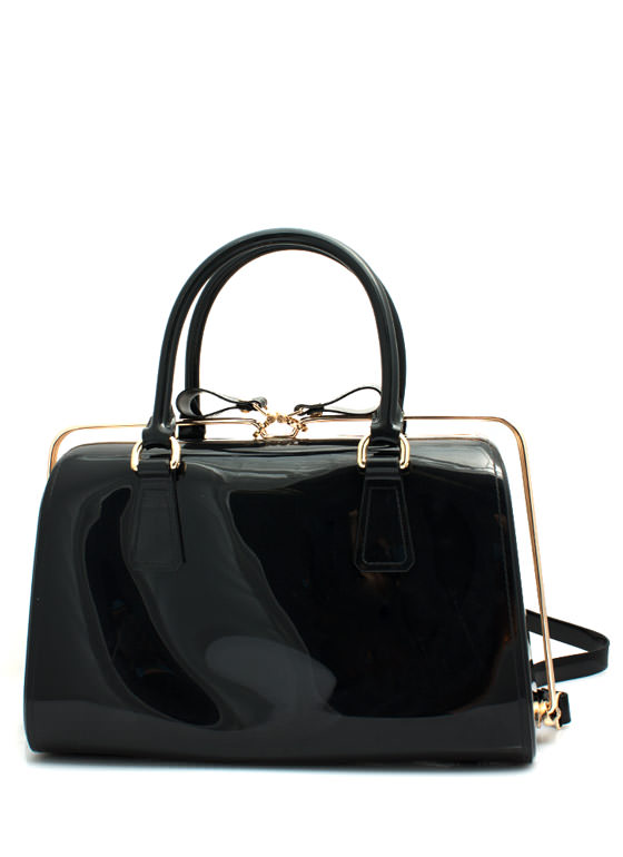 Slide N Lock Jelly Handbag BLACK