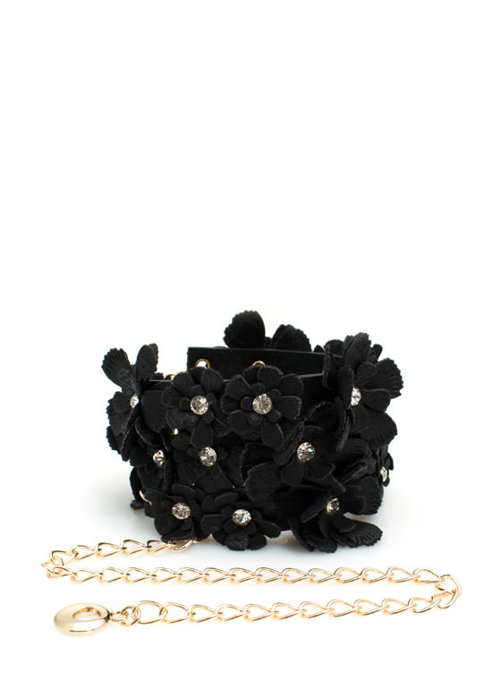 Rhinestone Floral N Chain Belt BLACK