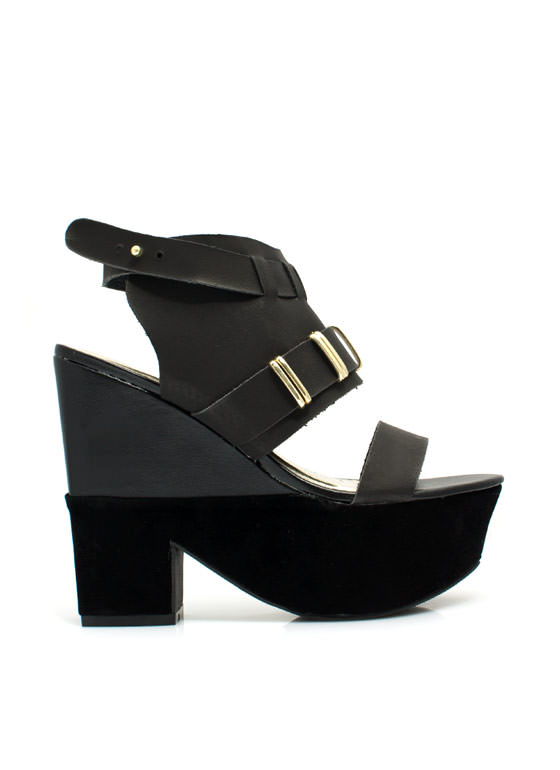 Mixed Media Chunky Platform Heels BLACK