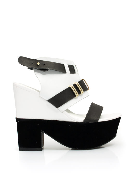 Mixed Media Chunky Platform Heels BLACKWHITE