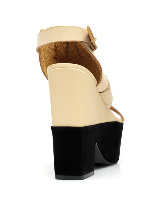 Mixed Media Chunky Platform Heels NATURAL