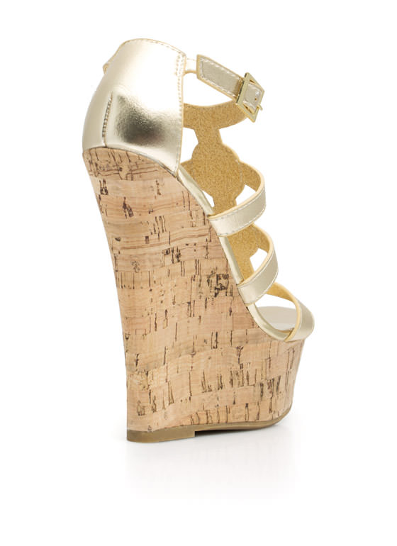 Double Medallion Cork Wedges GOLD