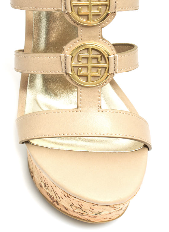 Double Medallion Cork Wedges NUDE