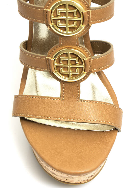 Double Medallion Cork Wedges TAN