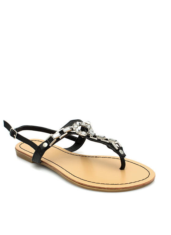 Art Deco Faux Jewel Sandals BLACK