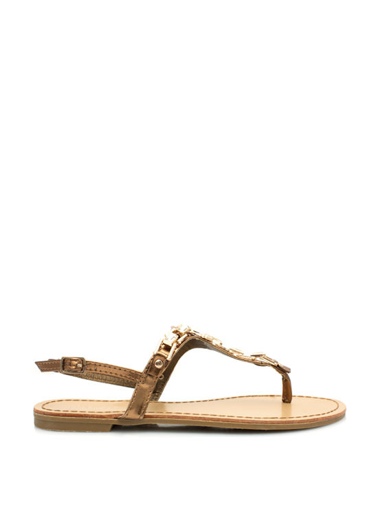 Art Deco Faux Jewel Sandals BRONZE
