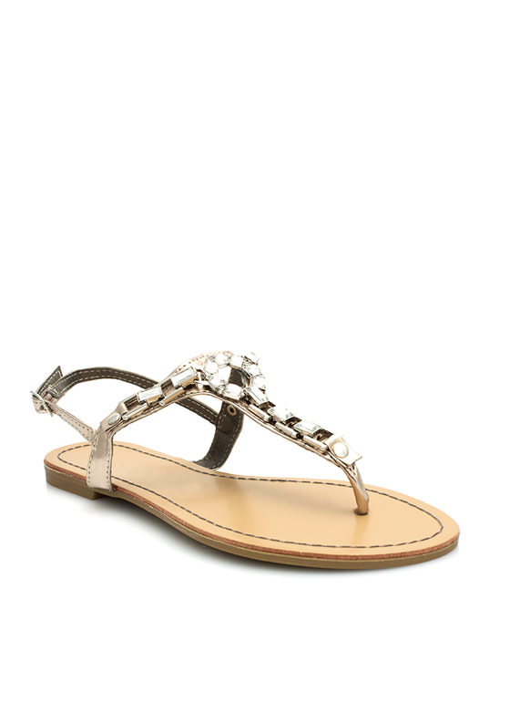 Art Deco Faux Jewel Sandals PEWTER