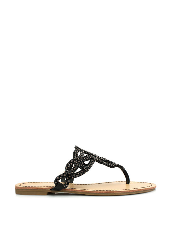 Teardrop Cut-Out Thong Sandals BLACK