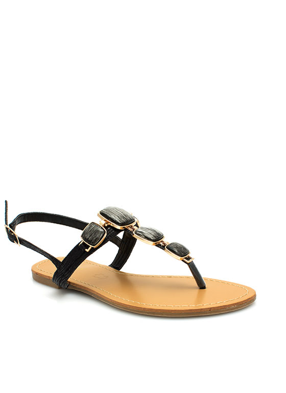 Squared Stones Embellished Sandals BLACK