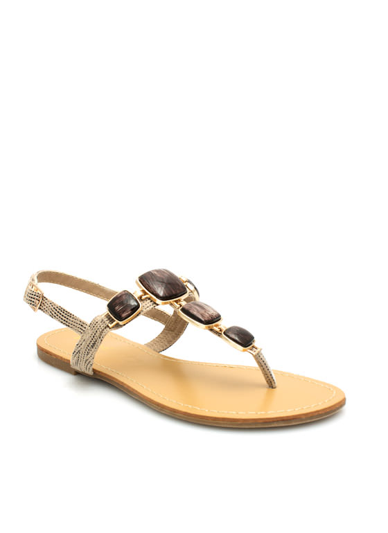Squared Stones Embellished Sandals NATURAL
