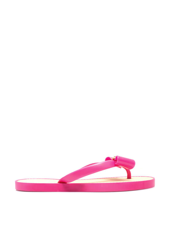Just Say Bow Thong Sandals FUCHSIA