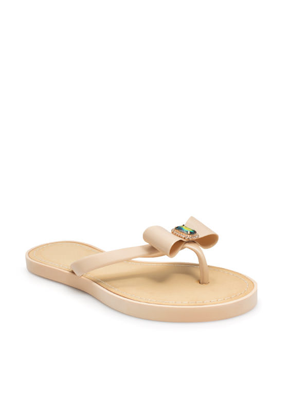 Just Say Bow Thong Sandals NUDE
