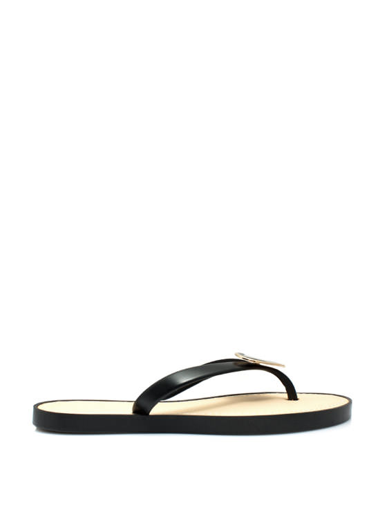 You Have A Big Heart Thong Sandals BLACK