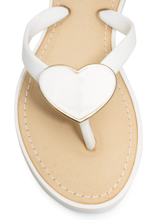 You Have A Big Heart Thong Sandals WHITE