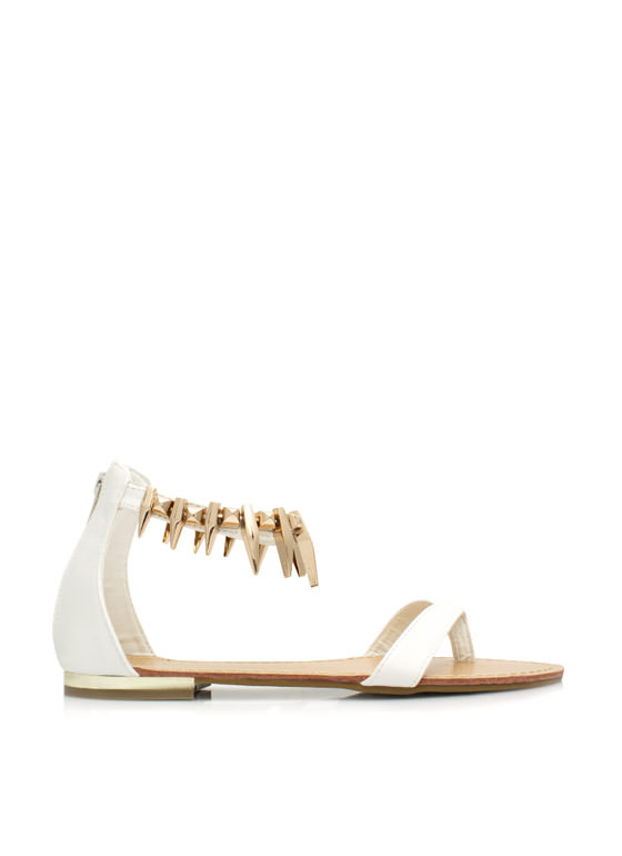 Perfectly Clawed Faux Leather Sandals WHITE