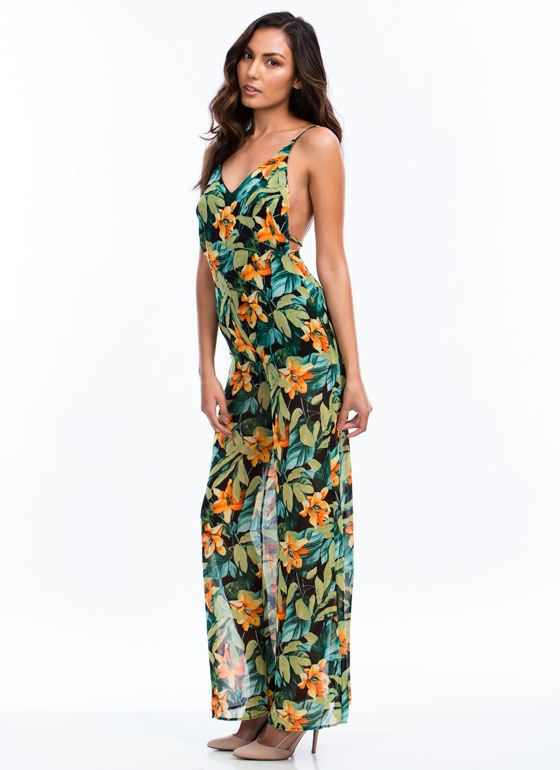 Tropical Daze Wide Leg Jumpsuit GREEN