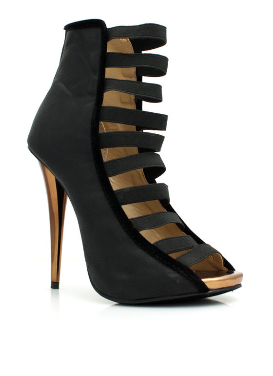 Strap To It Faux Leather Heels BLACK