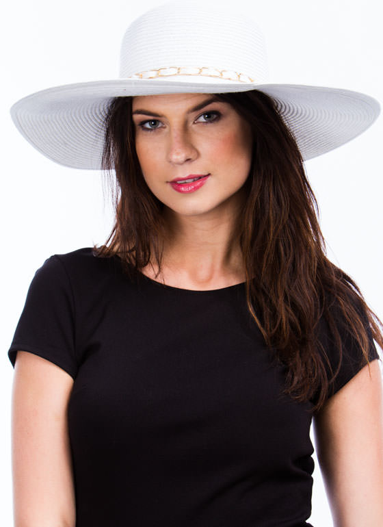 Chain Trimmed Wide Brim Hat IVORY